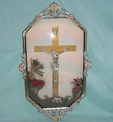 Convex Bubble Glass JESUS CROSS Crucifix Metal Framed Catholic Wall Art -
