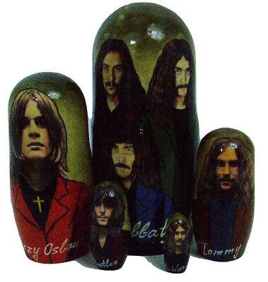 5pcs Handmade Russian Nesting Doll of Black Sabbath (Biggest Doll 7 inches tall)