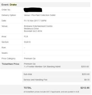 1x GA Drake Ticket- Brisbane 10 Nov