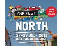 Carfest North 3 Day Full weekend Tickets 2 x Adult 2 x Children 6-16