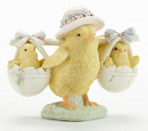 "CHICK BABY CHICKS RESIN EASTER 4"" x 3.2"" Collectible Spring Farm Flowers"