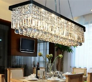 Modern Luxury 90cm Rectangle K9 LED Crystal Dining Room Restaurant  Chandelier