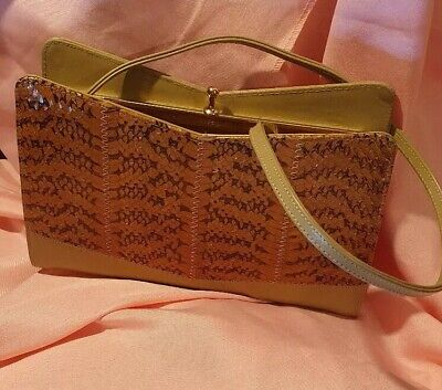 Vintage Style Handbag Brown Inc Snakeskin