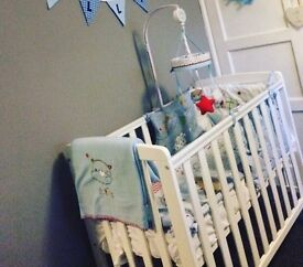 Bertie bear Boys cot bedding set with matching cot mobile