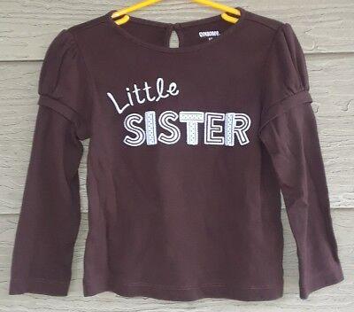 Gymboree Girls Best Friend 3T LITTLE SISTER Brown Blue Polka Dot TEE Shirt