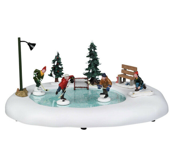 Lemax After School Hockey Match-Animated Skating Pond -Holiday Village/Train