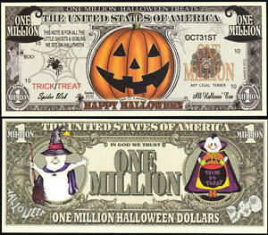JACK-O-LANTERN-HAPPY-HALLOWEEN-MILLION-DOLLAR-NOVELTY-BILL-Lot-of-2-BILLS