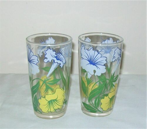 2 Vintage Tumblers White & Yellow Lilies Green Leaves - Lily Glasses 9 oz.