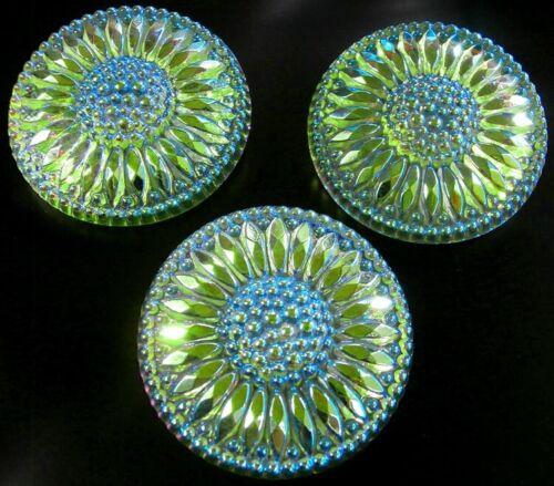 "3 Czech Vaseline Crystal Glass Buttons #B586 - 32 mm or 1-1/4"" - IRIDESCENT"