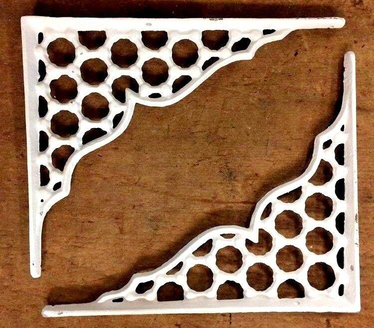 SET OF 4 LARGE HONEYCOMB LATTICE SHELF BRACKET BRACE Shabby Antique White Iron