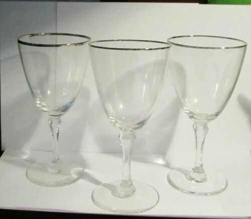 3 Lenox  MONTCLAIR Platinum Water Goblets 7""
