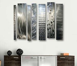Modern Abstract Silver Metal Canvas Wall Art Decor Sculpture Divided Un
