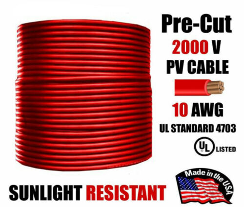 10 AWG Gauge PV Wire 1000/2000 Volt Pre-Cut 15-500 Ft Solar Installation RED