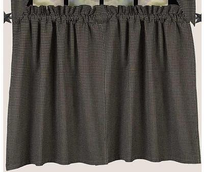 Black Newbury Gingham Tier Curtains Country Check Farmhouse Window Lined 72WX36L