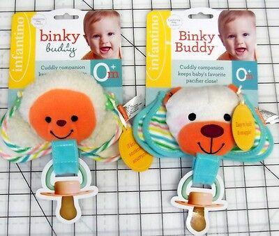 Baby Infantino Binky Buddy Plush Pacifier Holder Strap Blanket Bear or Lamb NEW Baby Buddy Pacifier Holder