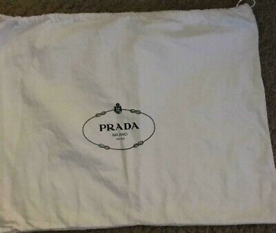 LOT OF 3 LARGE  PRADA DUST BAGS  DRAWSTRING WHITE FLANNEL