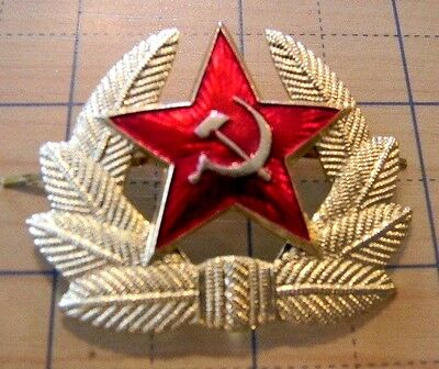 Russian Army military Red Star Beret pin 2- prong hat badge Soviet USSR