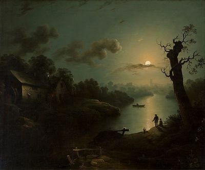 ORIGINAL ANTIQUE TONALIST MOONLIT MOONLIGHT LANDSCAPE OIL PAINTING HENRY PETHER