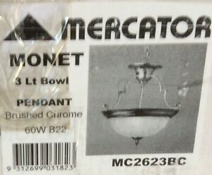 Mercator 3 Light Bowl Pendant Light Brushed Chrome Bomaderry Nowra-Bomaderry Preview