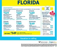 Florida Packages  Toronto departures, Roundtrip airfare
