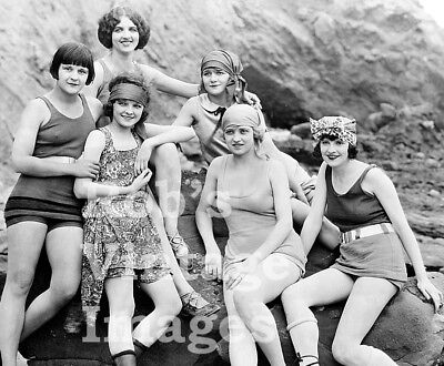 6 Flapper Girls Swimsuits Photo 1923 Flappers Jazz Prohibition era Roaring 20s   - 20s Flapper Girls