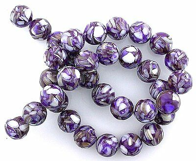 Mosaic Purple Mother Of Pearl - 12mm Round Purple Mother Of Pearl Mosaic Gem Bead 15 Inch Strand mb45