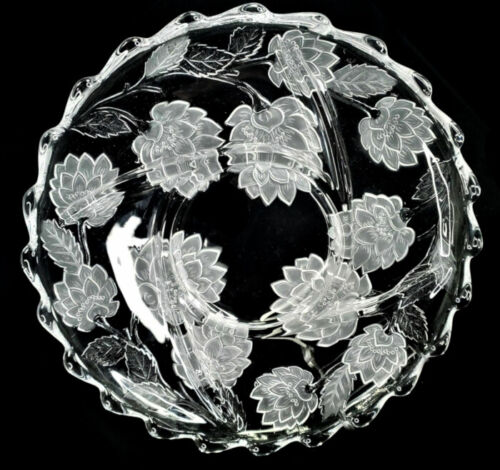 Vintage Crystal Lotus Flower Art Glass Plate Tray Divide Platter Holiday Gift