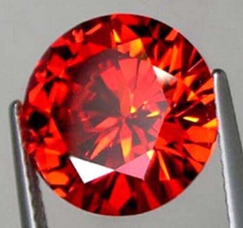 8mm 3.01ct AAAAA Orange Red Sapphire Diamonds Cut Round VVS Loose Gemstone