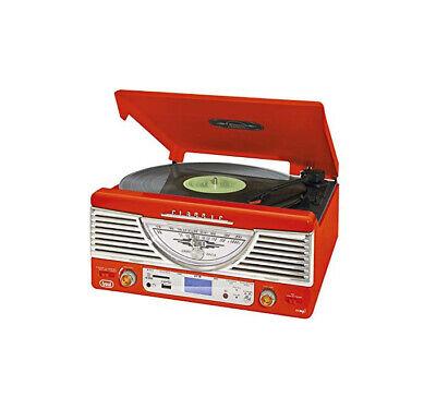 Tocadiscos diseño retro años 50 música USB RADIO MP3 color rojo Especial...