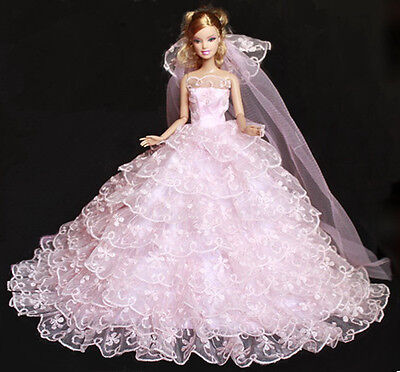 high quality GIFT hot pink weddings dress for barbies Doll pa2000 on Rummage