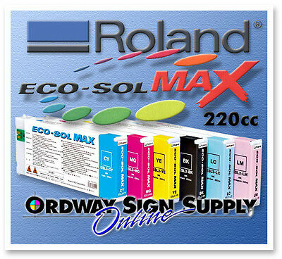 New Oem Roland Eco-sol Max Ink Cmyk Lc Lm 6 220cc Cartridge Set
