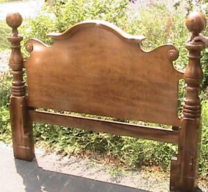 Vintage solid wood cannonball bed frame