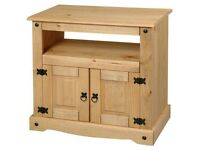 AVAILABLE NOW New Solid Corona Mexican Pine TV unit 2 door tall £89 W85xD43xH78cm