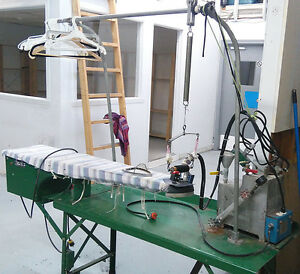 Industrial iron with vacuum and Merrow sewing machine