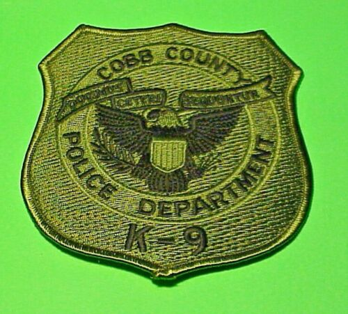 """COBB COUNTY GEORGIA GA SUBDUED GREEN  K-9   4 1/2"""" POLICE PATCH FREE SHIPPING!!!"""