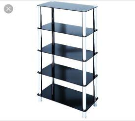 Black glass 5 shelf unit