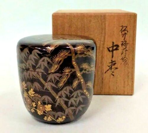 Japanese Antique Tea Ceremony Caddy Natsume Makie Maki-e Gold Golden Japan 44