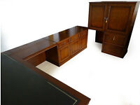 Solid Oak Leather Corner Partners Desk Home Office Workstation & Cabinet