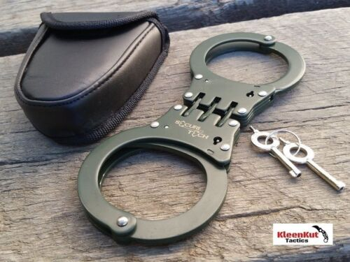 NEW HINGED Handcuffs GREEN STEEL Double Lock REAL Hand Cuffs w/ Case Keys Police