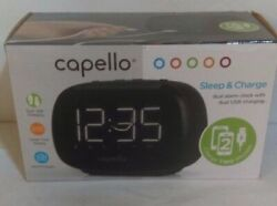Capello Sleep And Charge Dual Alarm Clock With Dual USB Charging