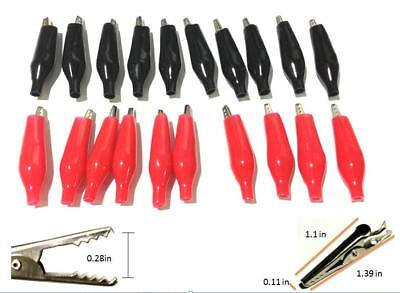 20pcs Battery Clamp Test Probe Electrical Alligator Clip Boot 28mm Black Red