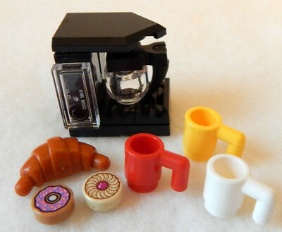 NEW LEGO COFFEE MAKER + croissant donut mugs food minifig minifigure machine