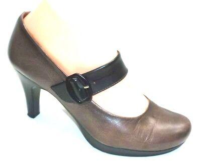 HISPANITAS taupe beige & black leather formal Mary-Jane court shoes EUR 37 / 4.5