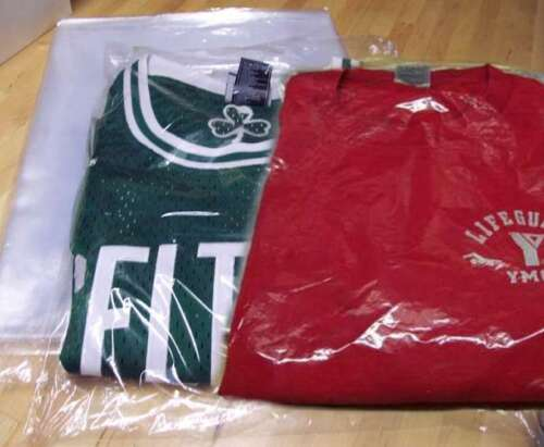 "9x12-12x15-12x16 Poly T Shirt Clear Plastic Bags 2""-3"" Flap25-50-100-200-300-500"