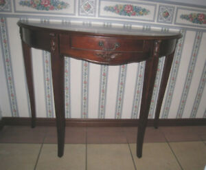 Wood Hallway Console Table with 1 drawer, half moon shape