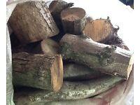 Seasoned logs firewood in builders bags