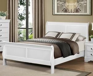 Louis Philippe sleigh bed frame (grey, white or cherry)from $299