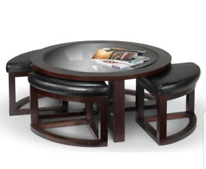 NEW-Emma Coffee Table With Four Ottomons - Espresso