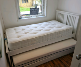 Single Bed Wood White with Trundle Bunk