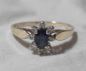 10K Gold Diamond & Blue Sapphire Engagement Ring